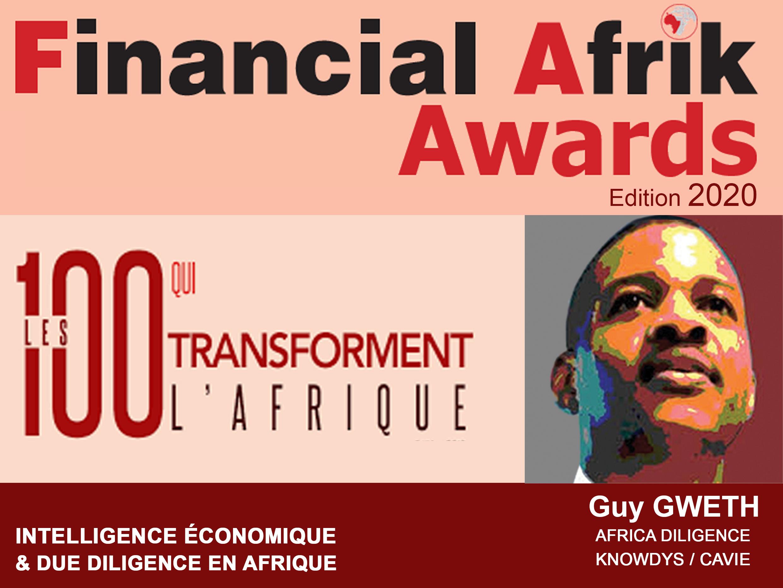 Awards 2020 : Guy GWETH parmi les 100 qui transforment l'Afrique